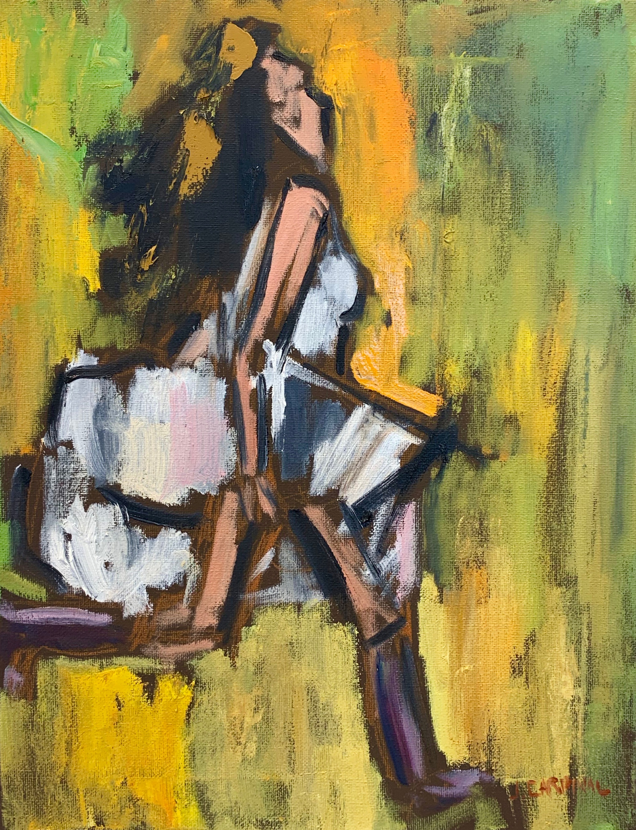Running Girl in White, 14x11, o/c