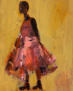 Pink Dress, 24x18, o/c
