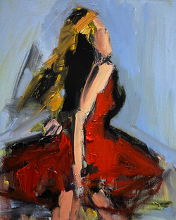 Running Girl in Red, 20x16, o/c
