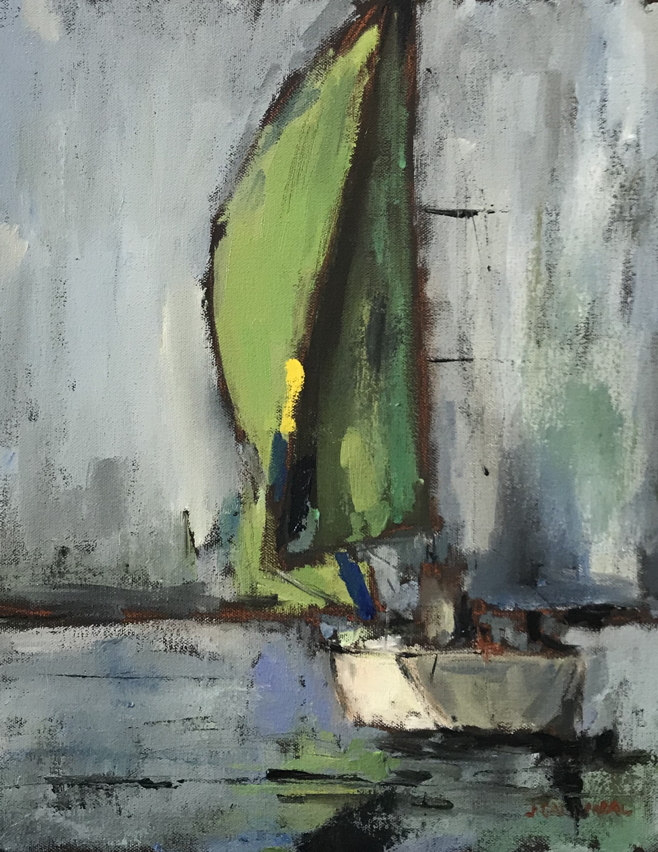 Green Sail, 14x11, o/c