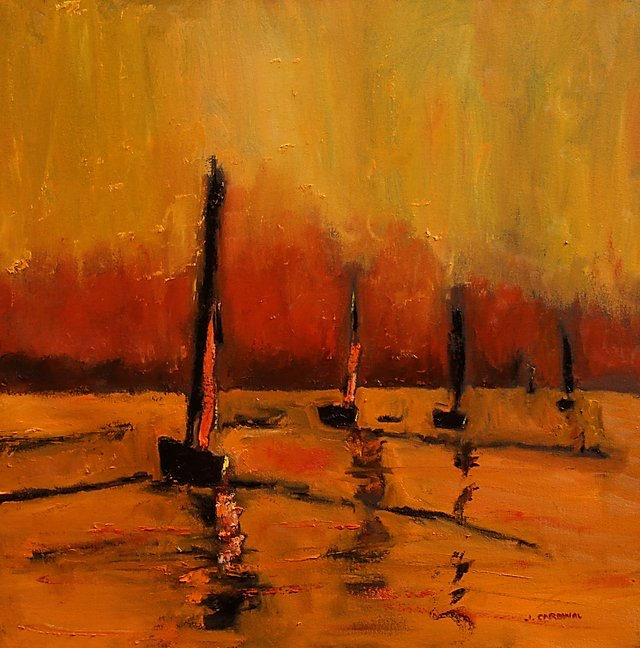 Sunset Sails, 36x36, o/c