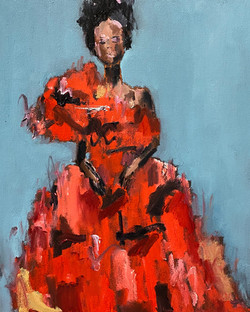 Red Gown, 20x16, o/c