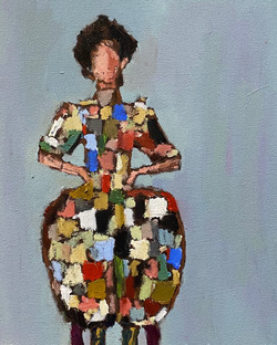 Checkered Dress, 14x11, o/c