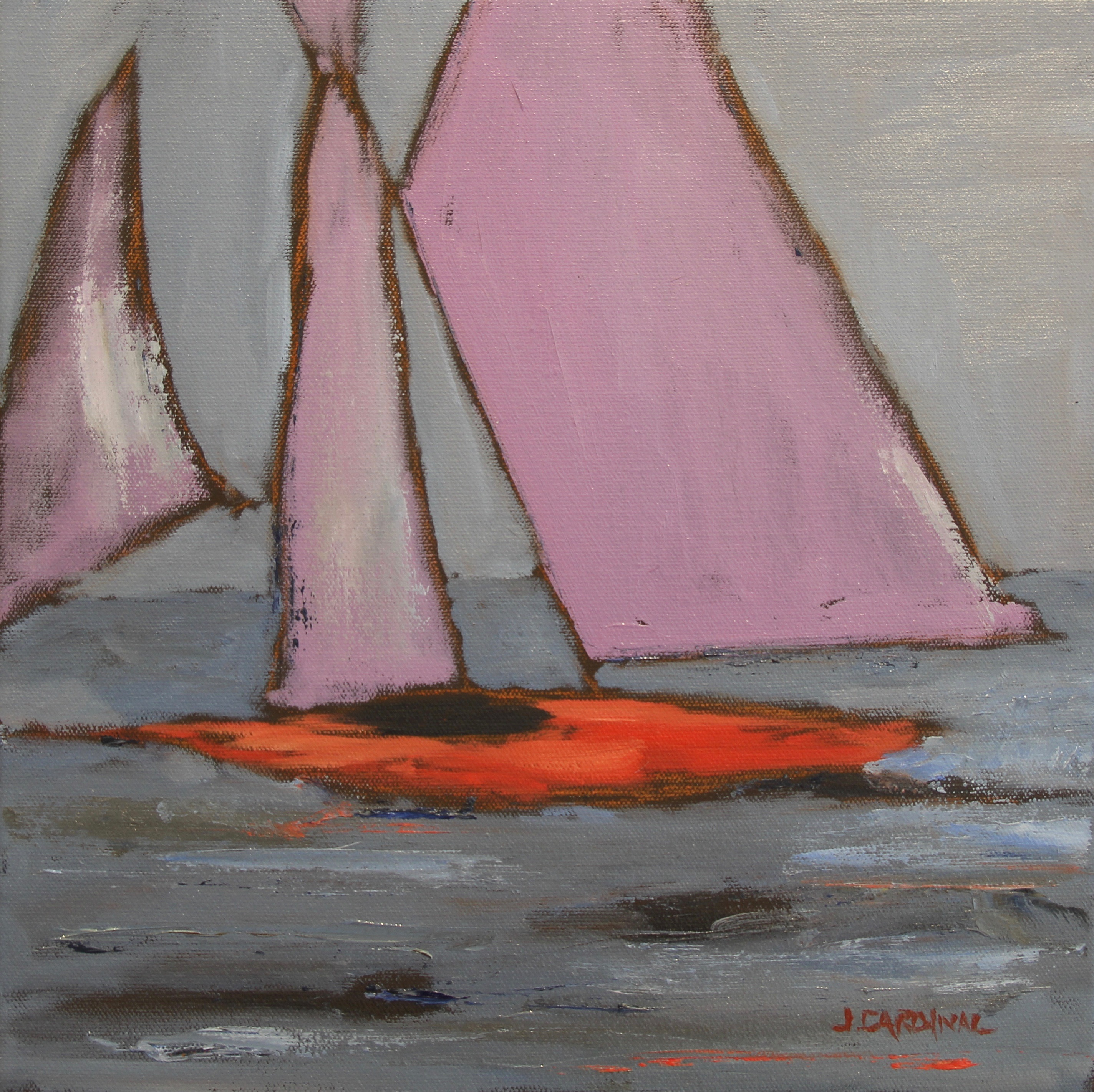 Sunset Sails, 12x12, o/c