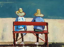Red Bench, 18x24, o/c