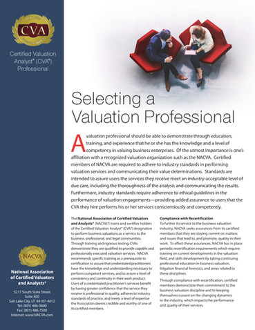 Selecting A Valuation Professional