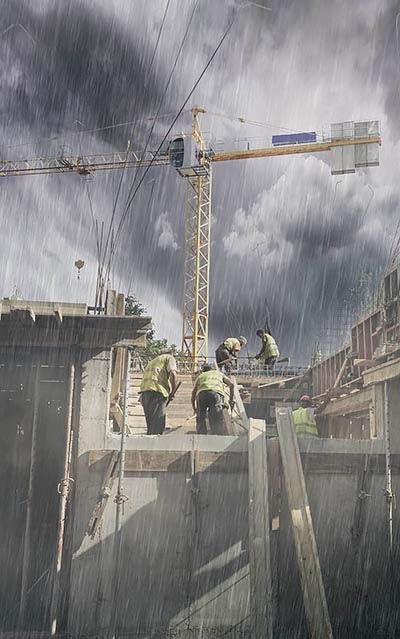 פועלי בניין בגשם
