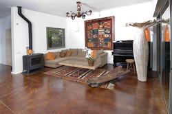 סלון עם רצפת בטון