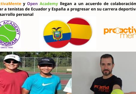 ProActivaMente y la escuela de tenis Open Academy de Ecuador establecen un acuerdo de colaboración