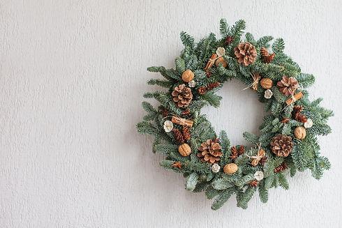 Christmas wreath made of natural fir bra
