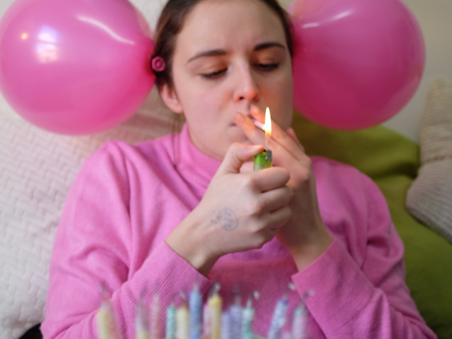 Kathryn was over from the US to study in Glasgow for a semester. Her creative attitude flowed out of her. The GUM photos were meant to reflect a happy activity being done by someone sad for an article on social pressures of being happy all the time.