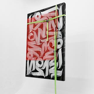 Sanches strap, 2019 Acrílica, malha de aço e cinta de tecido sobre tela 140cm x 100cm