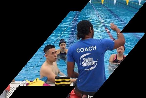 Coach Shauqie Aziz coaching his swimmers at MySwim Coaching