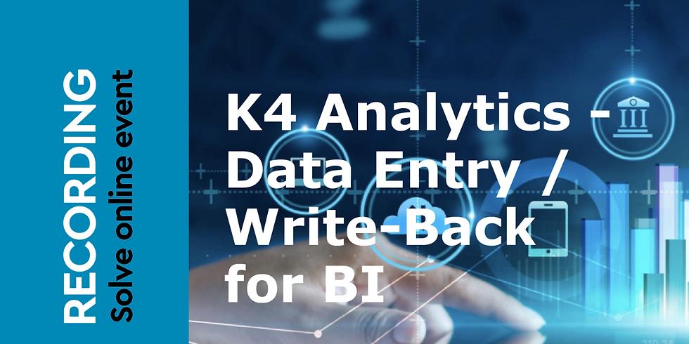 K4 Analytics | Data Entry / Write-Back for BI (1)