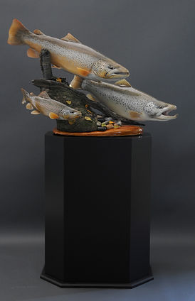 Weick's Taxidermy Unlimited Brown Trout Trio Pedestal