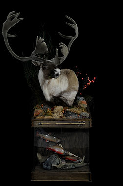 Weick's Taxidermy Unlimited Caribou Fish Combo Pedestal