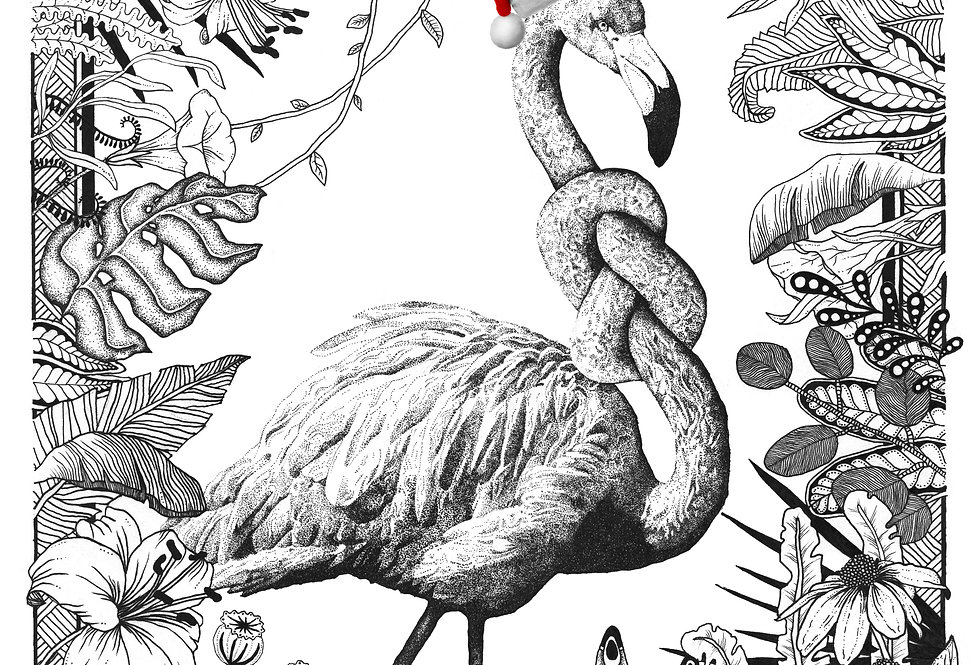 JulekortUheldig flamingo