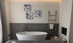 Debra Steidel Wall sculpture interior design aqua blue and silver leaf