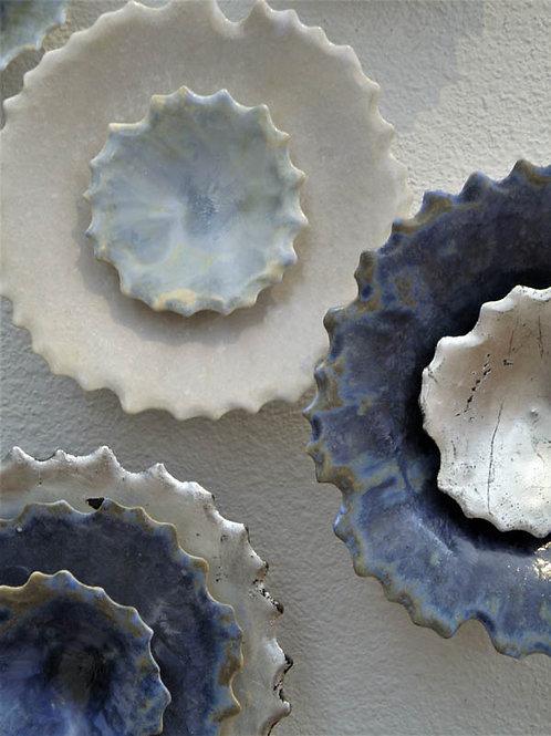 Wall Sculpture Installation   Blues, Snow & Silver