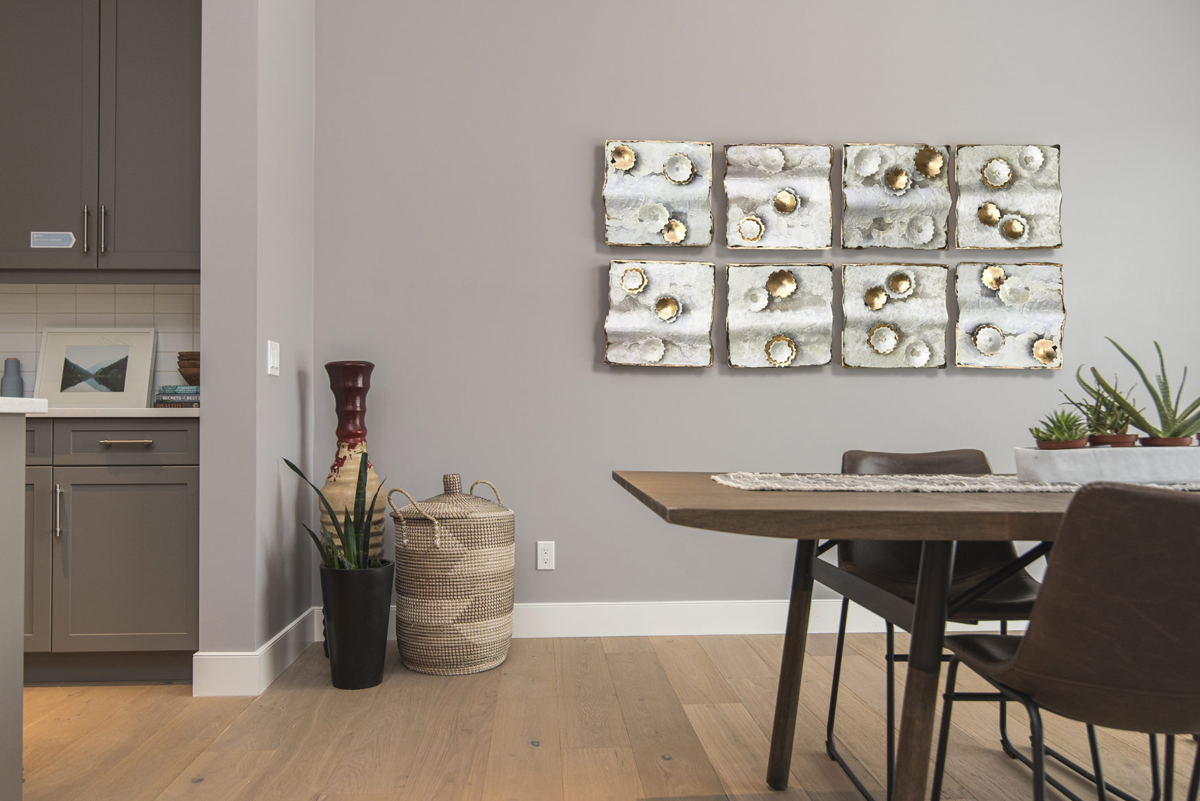 Debra Steidel Wall sculpture interior design ivory and gold
