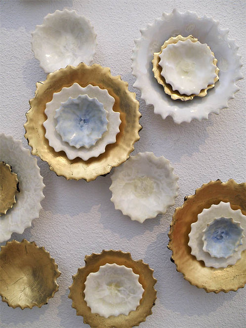 Wall Sculpture Installation | Ivory Blue Gold