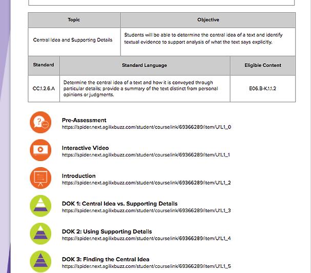 Alignment to Standards Screenshot