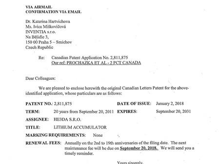 Kanadský patentový úřad uznal další patent společnosti HE3DA