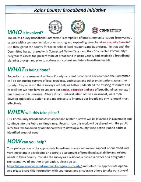 Rains Co Broadband Initiative - Informat