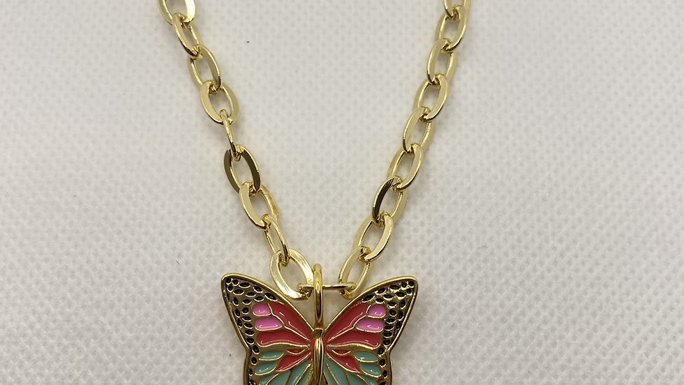 Circle chain butterfly necklace
