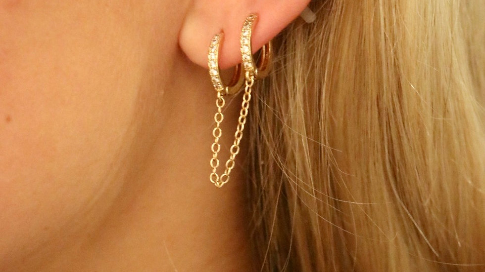 Double small pave earrings