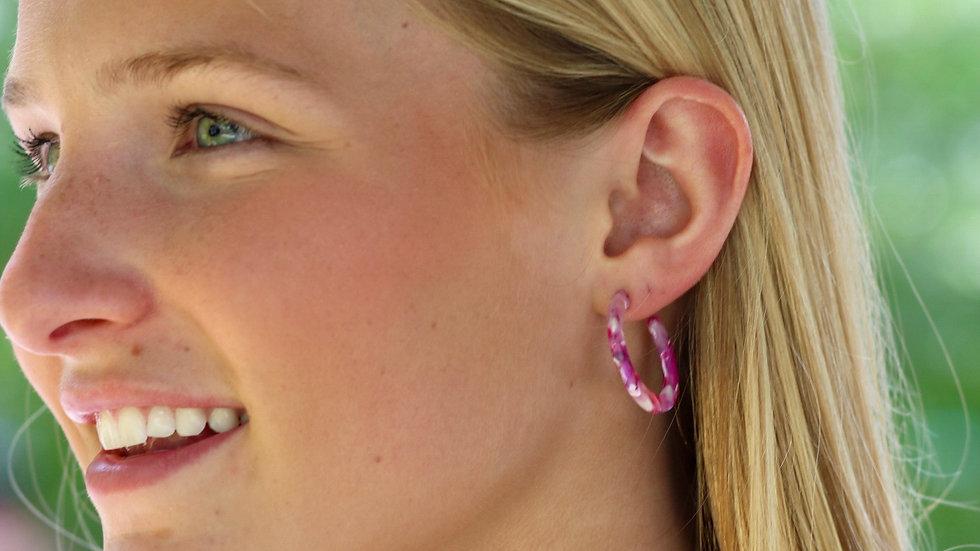 Pink Marble Hoops