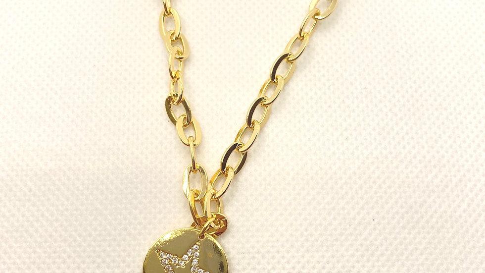 Circle chain circle star necklace