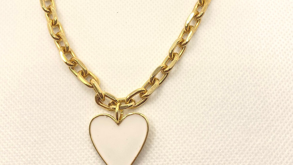 Thick chain white heart necklace