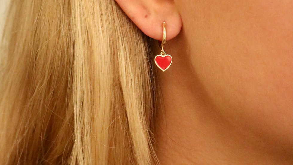 Red lots of love earring
