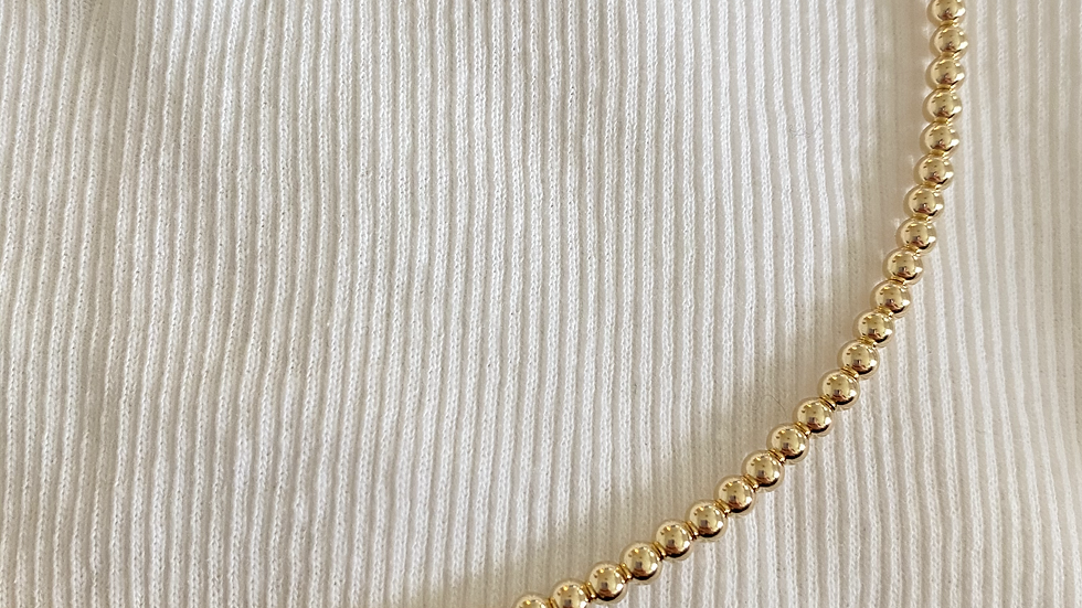 4mm Gold Beaded Necklace