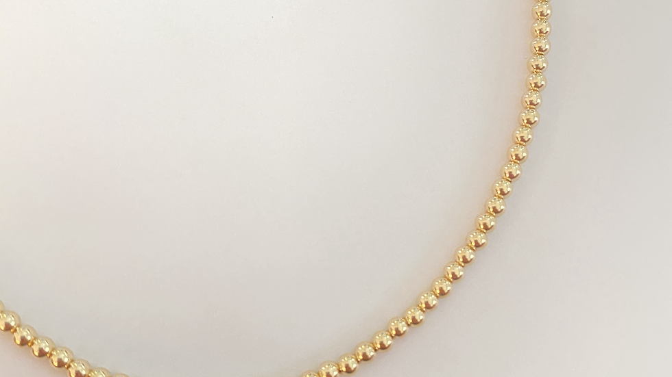 3mm Gold Bead Necklace