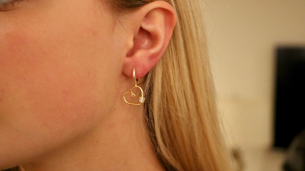 Small heart huggie earrings