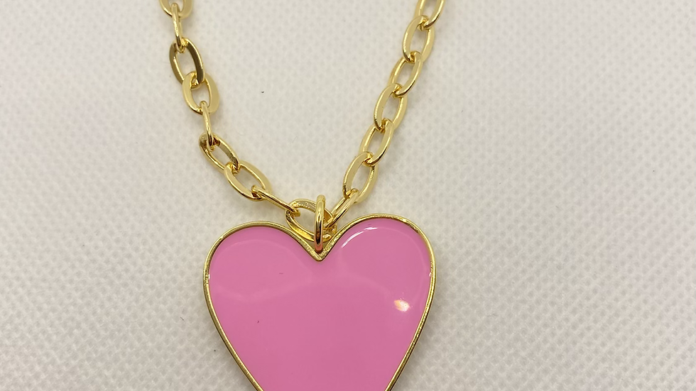 Circle chain pink heart necklace
