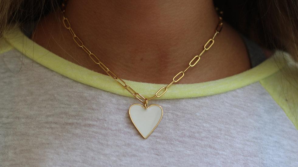 Big white heart chain necklace