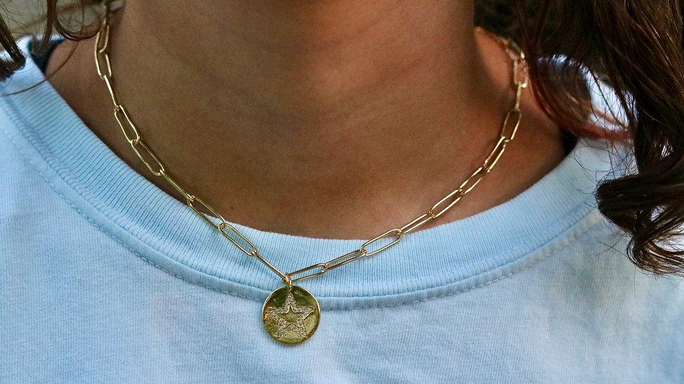 CircleStar Dangle Chain Necklace