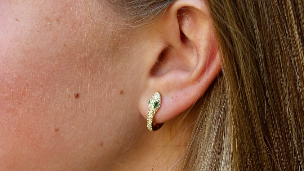Snake Huggie Hoop Earrings