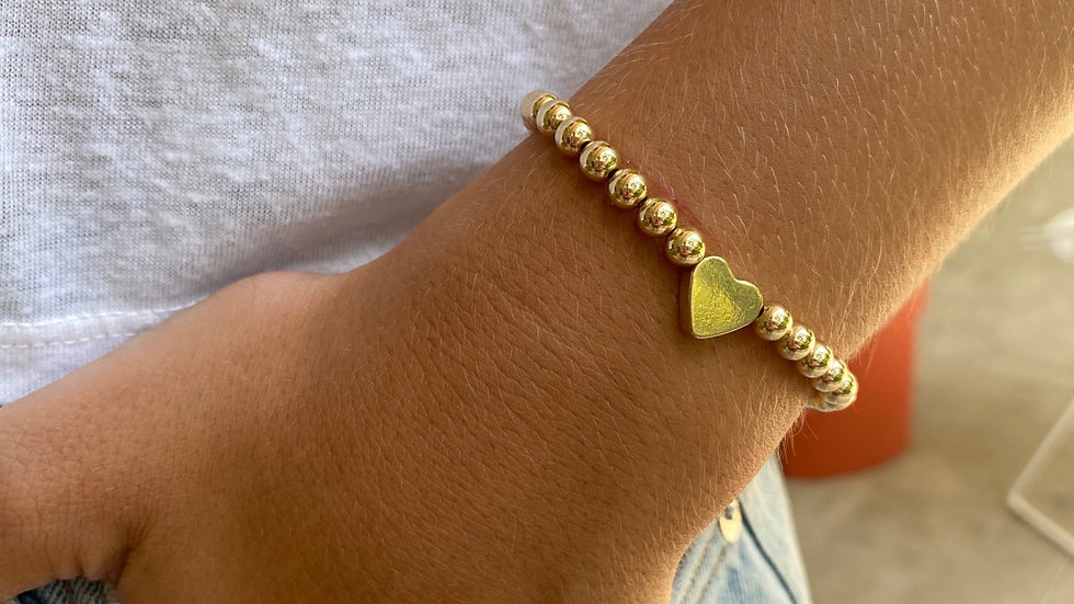 Heart gold bead bracelet