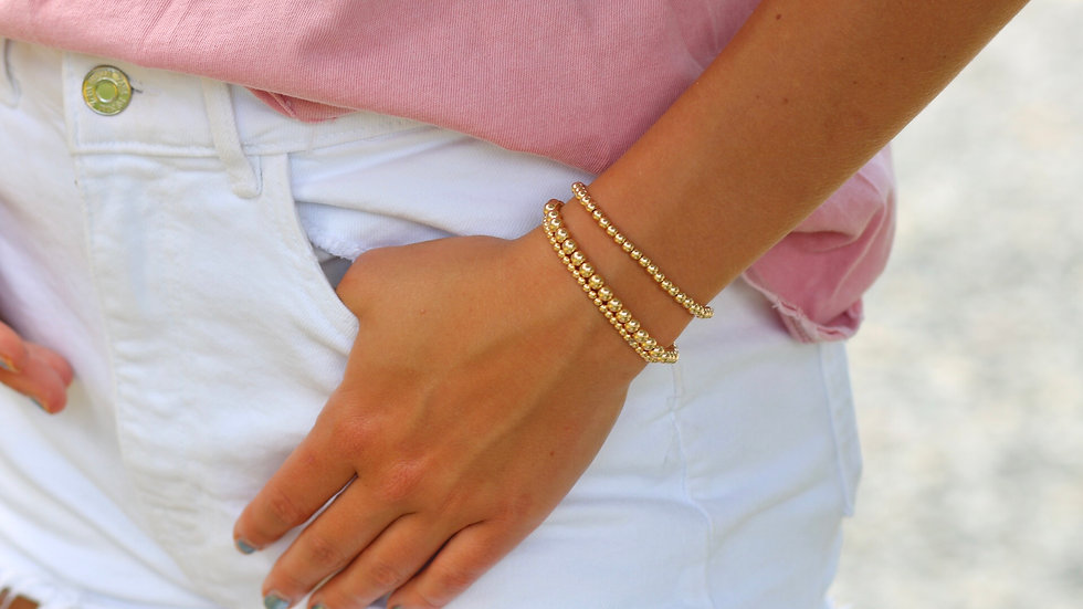 Gold Beaded 5mm Bracelet (Middle one)