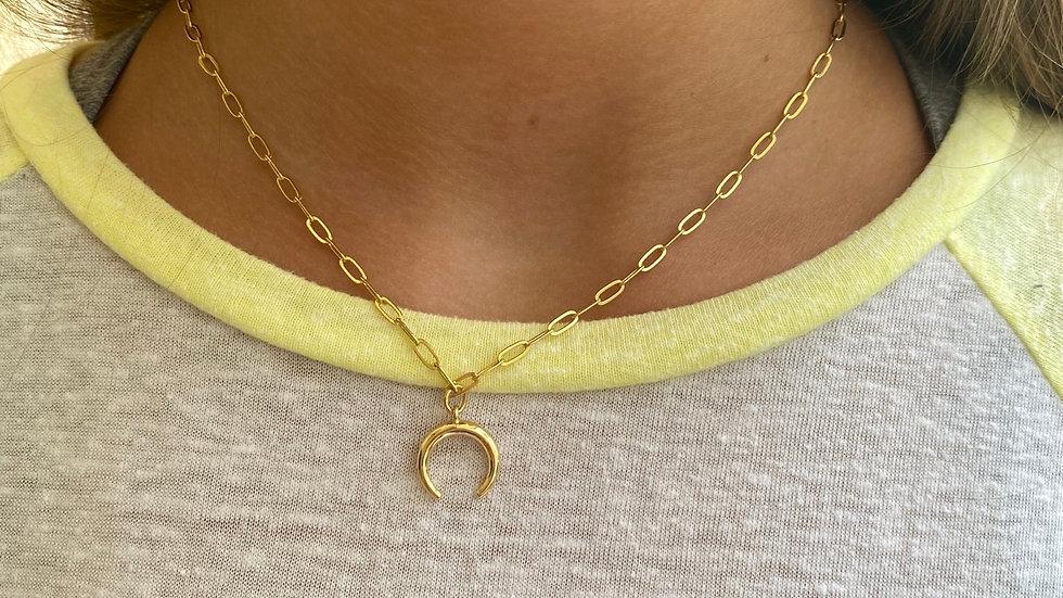 Small Chain Crescent Necklace