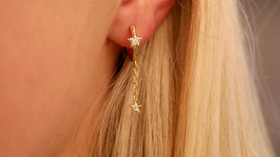 Dangle chain star huggies