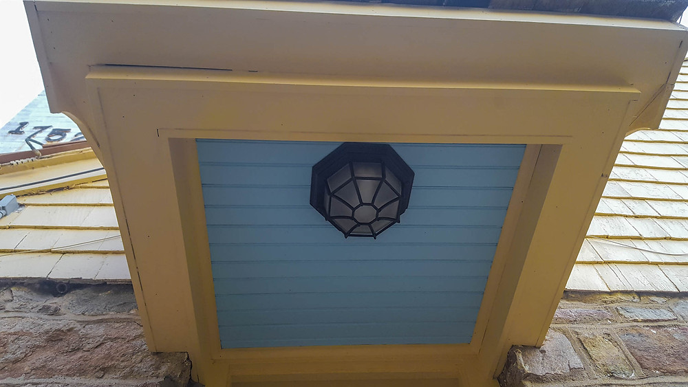 blue porch ceiling with light