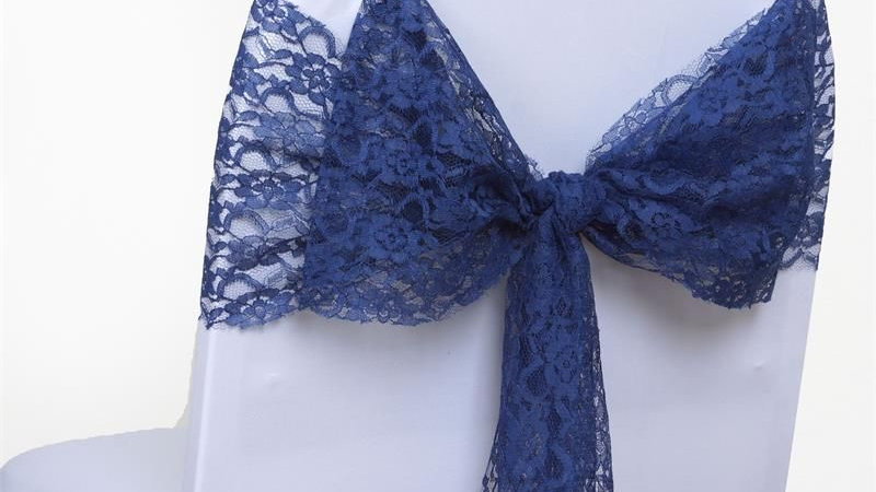 Navy Lace Chair Sash