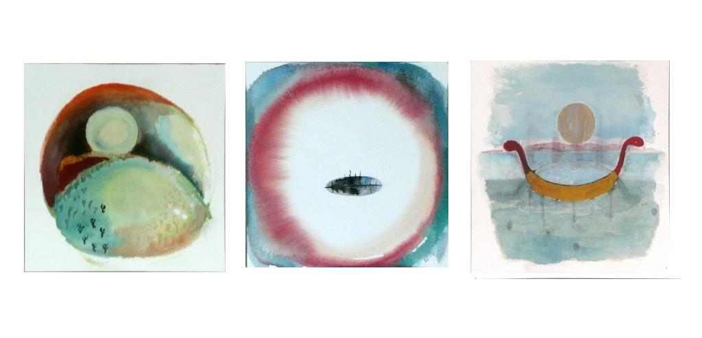 Kolme akvarellia 2012 (3x20cmx20cm)