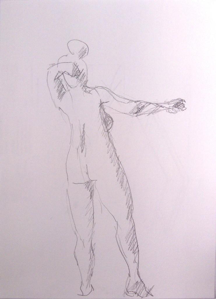 nainen takaa lyijykynä