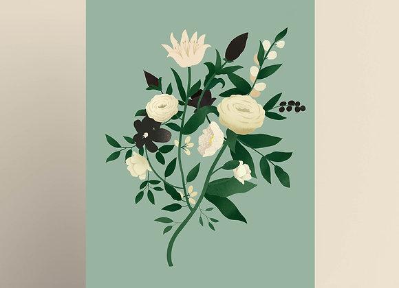 Print: bloemen (groen)